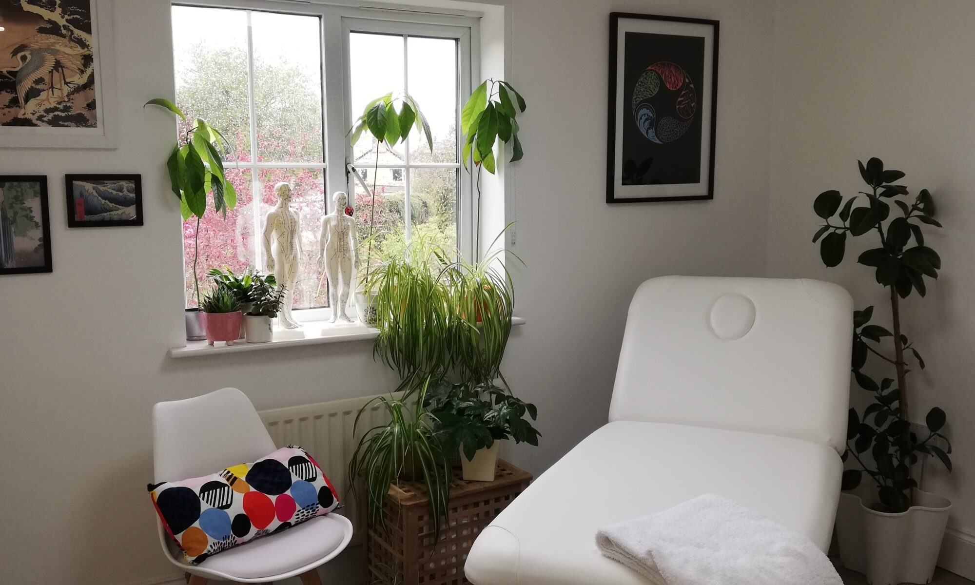 Showing new five element acupuncture treatment room in Willingham, Cambridgeshire